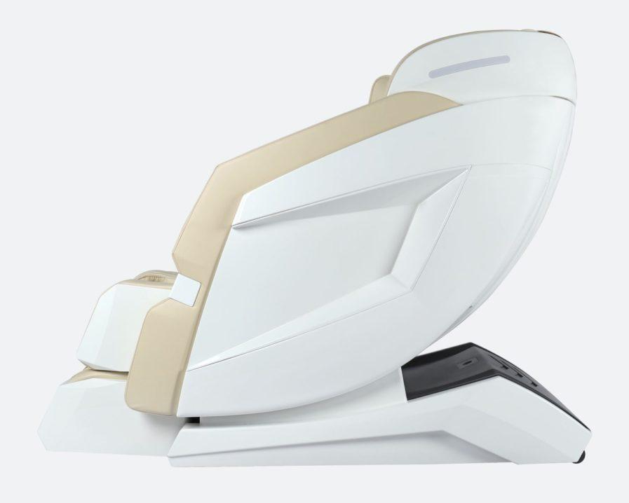 Massagestuhl Produktfoto Modell Prestige in Weiss/Beige - von der seite